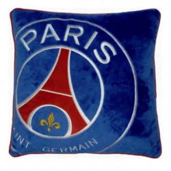 PSG Coussin velours brodé Logo - 36x36 cm - Bleu