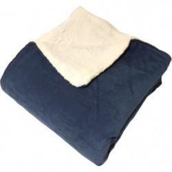 Plaid MENUIRES 130x150cm - 100% Polyester - Bleu Prusse