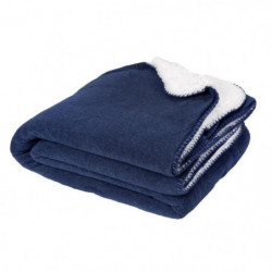 Plaid SWEET 130x150cm - 100% Polyester - Bleu Nuit