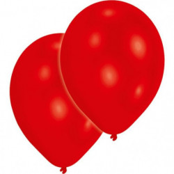 AMSCAN Lot de 10 Ballons en latex 27,5 cm/11'' - Rouge métal