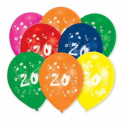 AMSCAN Lot de 8 Ballons en latex imprimé Nombre 20 - 25,4 cm