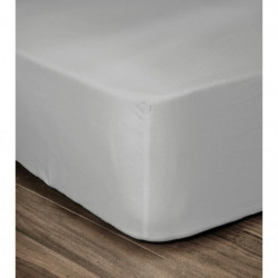 LOVELY HOME Drap Housse 100% coton 160x200x25 cm gris clair