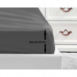 LOVELY HOME Drap Housse 100% coton 160x200x25 cm - Gris fonc