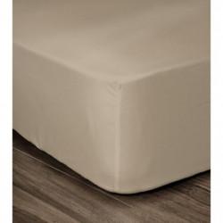LOVELY HOME Drap Housse 100% coton 160x200x25 cm beige