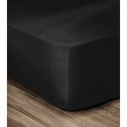 LOVELY HOME Drap Housse 100% coton 160x200x25 cm noir