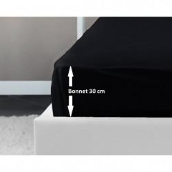 LOVELY HOME Drap Housse 100% coton 90x190x30 cm noir