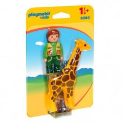 PLAYMOBIL 1 2 3 9380 - PLAYMOBIL 1.2.3 - Soigneur avec giraf