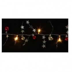 Guirlande de Noël boules et étoiles - 10 LED blanc - L 1 m