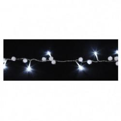 Guirlande de Noël boules de coton - 20 LED blanc - Fil trans
