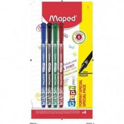 MAPED 4 Feutre Medium Graph Peps Format Special
