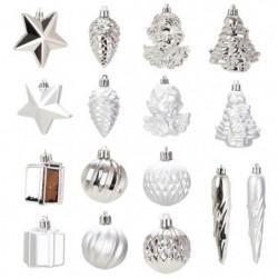 Kit de 16 décorations de Noël PVC - Ø 5 -8 cm - Argent