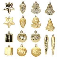 Kit de 16 décorations de Noël PVC - Ø 5 -8 cm - Or