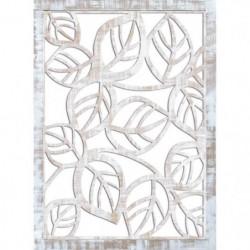 Miroir mural Feuilles - 50x70 cm - Moulure 30 mm - Blanc vie