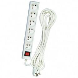 Bloc multiprise 6 prises avec interrupteur et cordon de 4 m
