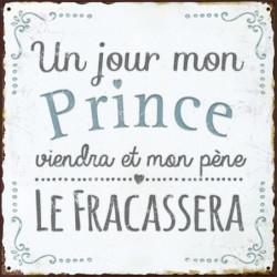 DECO WORD Image contrecollée 20X20 cm Un jour mon prince