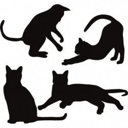 WALL IMPACT Stickers Silhouettes de chats - 40x37x1 cm - Vin