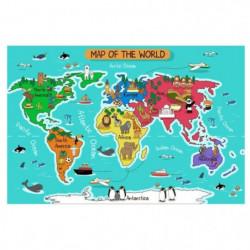 WALL IMPACT Stickers Carte du monde - 90x60x1 cm - Vinyle ca