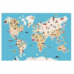 WALL IMPACT Stickers Carte du monde - 73x50x1 cm - Vinyle ca