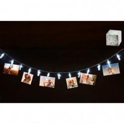 Guirlande lumineuse pour photos - 10 pinces LED - 200 cm