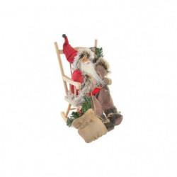 Figure Pere Noël a fauteuil basculé en bois - 19 x 28 x 30 c
