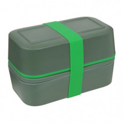 CAO CAMPING Lunch box Bambou double - 0,75 L x 2 - Vert kaki