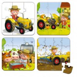 JANOD Lot de 4 Puzzles ''Le tracteur de Peter''