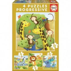 EDUCA - Puzzle Progressif Animaux Sauvages