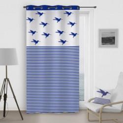 SOLEIL D'OCRE Rideau a oeillets Colibri - 140x260 cm - Bleu