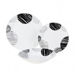 LEA Service de table 18 pieces noir et gris forme aile
