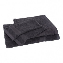 Lot de 1 drap de bain + 1 serviette + 2 gants ELEGANCE anthr