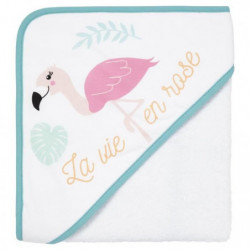 BABYCALIN Cape de bain coton - Impression Flamand rose - 80