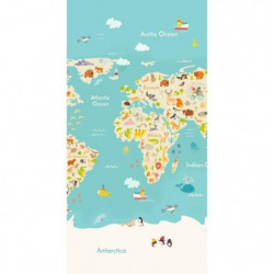 GOOD MORNING Serviette de plage Worldmap - 75 x 150 cm