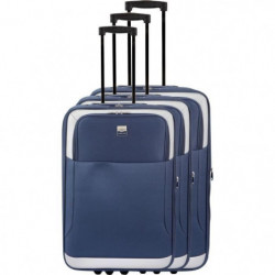 FRANCE BAG - Set de 3 valises extensibles 2 roues - Marine
