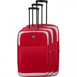 FRANCE BAG - Set de 3 valises extensibles 2 roues - Rouge