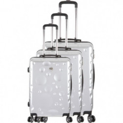 FRANCE BAG Set de 3 Valises 8 roues abs/polycarbonate Argent