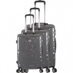 FRANCE BAG Set de 3 Valises 8 roues abs/polycarbonate Gris
