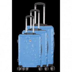 FRANCE BAG Set de 3 Valises 8 roues abs/polycarbonate Bleu