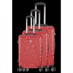 FRANCE BAG Set de 3 Valises 8 roues abs/polycarbonate Rouge