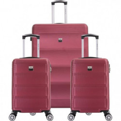 FRANCE BAG Set de  3 Valises ABS Bordeaux