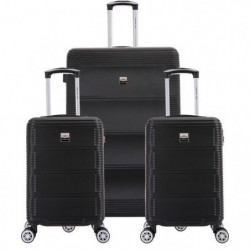 FRANCE BAG Set de  3 Valises ABS Noir