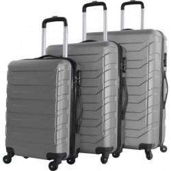 MAJESTIK Set de 3 Valises Chariot Silver ABS 4 roues