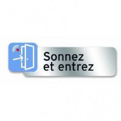 Plaque indicatrice Sonnez et Entrez - PVC adhésif - 160 x 50