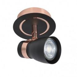 BRUCE Spot 1 lumiere - L 10 x H 12 cm - Noir et Rose cuivre