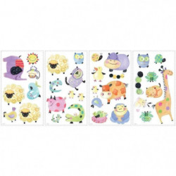 ROOMMATES Lot de 33 stickers POLKA ANIMAUX A POIS reposition