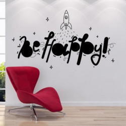 Stickers adhésif mural Be happy - 73x42cm