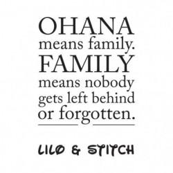 "Stickers adhésif mural ""Ohana means family"" - 30x43cm"