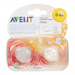 AVENT 2 Sucettes Orthodontiques Classic SCF17018 (Coloris se