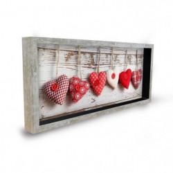 CoeURS Tableau déco cadre vitrine 20x50 - Coeurs