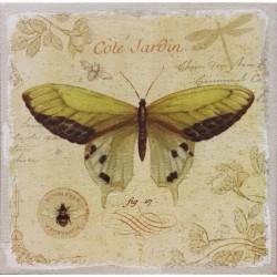 Jardin Tableau Déco Toile Imprimée Lin Papillon - 50x50cm