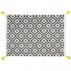 KYLA Tapis de bain - Coton - 50x70 cm - Blanc et Noir